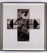 intersection series: woman (with cigarette) and weight lifter (maquette) by john baldessari