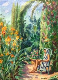 jeune femme dans un jardin by henri charles manguin