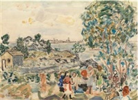 children in a landscape by maurice brazil prendergast