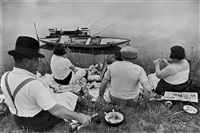 france. sunday on the banks of the river seine. 1938. by henri cartier-bresson