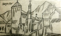 untitled (landscape with church) by francis newton souza