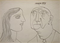 untitled (portrait of a man and woman) by francis newton souza