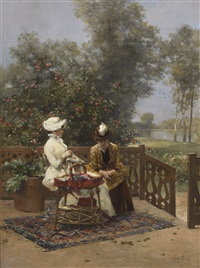 women embroidering on the terrace by ferdinand heilbuth