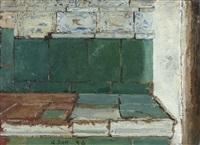 green tiled stove by albert anker