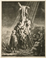 the decent from the cross: the second plate by rembrandt van rijn