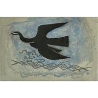 the black bird on blue background (bird viii) by georges braque