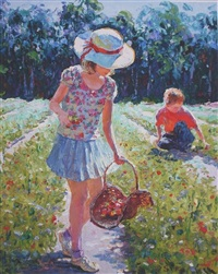 strawberry picking by h. gordon wang