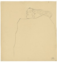 sleeping couple by egon schiele