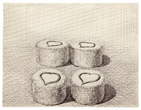 four heart cakes by wayne thiebaud