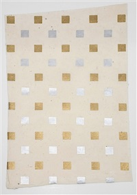 nature morte: small gold and silver square by sherrie levine