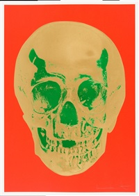 till death do us part - time bright orange african gold emerald green pop by damien hirst