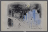 suspence (and cityscape drawing verso) by lyonel feininger