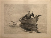 fly fishing, saranac lake by winslow homer