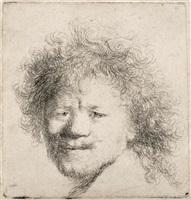 self portrait with long bushy hair by rembrandt van rijn