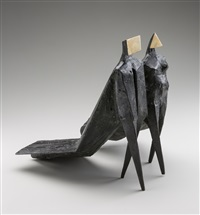 walking couple, cloaked couple iv by lynn chadwick