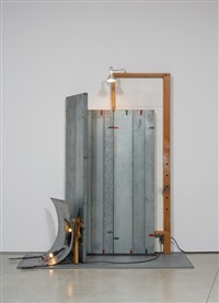 white easel with machine pistol by edward and nancy kienholz