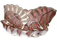 red oxide and beige seaform set with black lip wrap by dale chihuly