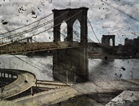 tent-camera image on ground: rooftop view of the brooklyn bridge by abelardo morell