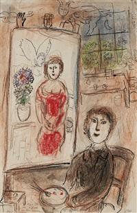 le peintre et son chevalet by marc chagall