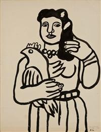 femme à l'oiseau by fernand léger
