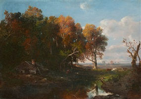 autumn landscape with cows by régis françois gignoux