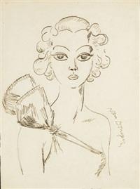 portrait de femme avec les yeux rêve by kees van dongen