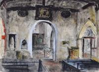 old romney marsh church interior by john piper