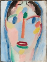 mystischer kopf: kopf in blau / mystical head: head in blue by alexej jawlensky