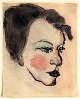 frauenkopf im halbprofil / woman's head in half profile by emil nolde