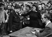 a young belgian woman is denounced as a gestapo informer, dessau, april 1945 by henri cartier-bresson