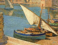 barques dans le port coullioure by henri jean guillaume martin