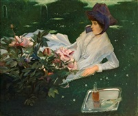 henriette cabot with peonies by jacques emile blanche