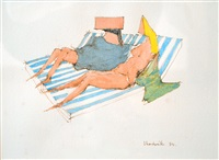 two reclining figures by lynn chadwick
