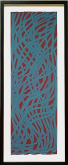 untitled, (irregular wavy teal blue lines on burgundy background) by sol lewitt