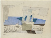 blaue segel (segelschiffe und figuren an der küste) / blue sails (sailing ships and figures on the shore) by lyonel feininger