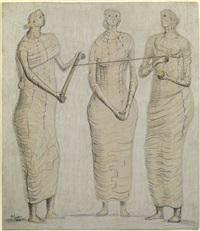 three women winding wool by henry moore
