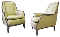 """confortable redhead"" boudoir armchairs by émile jacques ruhlmann"