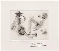 homme a la pipe, jeune femme nue et petit chien, from the 347 series by pablo picasso