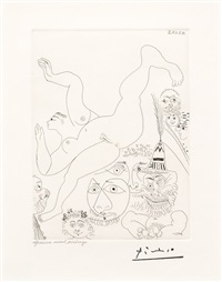 television: gymnastique au sol, avec spectateurs, from the 347 series by pablo picasso