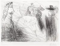 peintre, modele au chapeau de paille, et gentilhomme, from the 347 series by pablo picasso