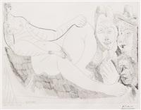 femme au lit avec visiteurs en costume du xvii siecle, from the 156 series by pablo picasso