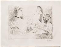 belle jeune femme a sa toilette revant qu'elle possede un petit homme des bois emacie portant un oiseau, from the 156 series by pablo picasso