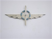 nickel wing with crown (blue flowers) and crossed propeller by gianni piacentino