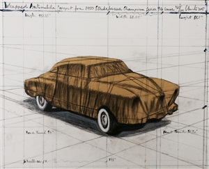 wrapped automobile (project for 1950 studebaker champion, series 9 g coupe) by christo and jeanne-claude