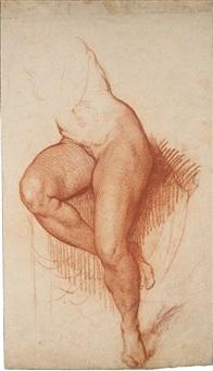étude de jambes de femme assise by jean baptiste greuze