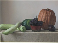 pumpkin and gourds by claudio bravo