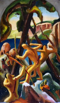 study for history of new york, 1400: aboriginal days by thomas hart benton