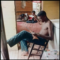 willie causey, jr., with gun during violence in alabama, shady grove, alabama by gordon parks