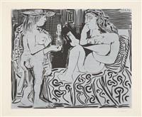deux femmes / deux femmes avec un vase à fleurs (zwei frauen) / (zwei frauen mit blumenvase) by pablo picasso