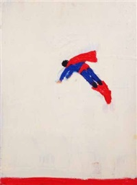 superman responds (red line bottom) by katherine bradford